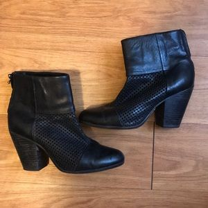 Black leather heeled rag&bone cut out boots SZ 40